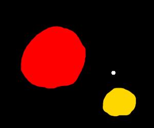 Big red Circle and tiny white circle