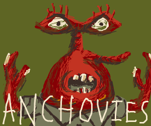 Mr krabs has big eyes and says anchovies
