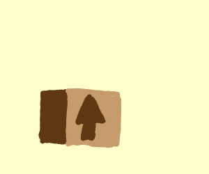 Closed cardboard box with a white square hole