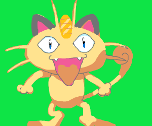 Meowth with pointy grey ears