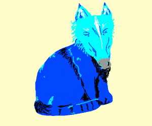 blue cat with scruffy beard and unicorn head