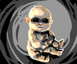 Baby with 3 legs and pitch black eyes