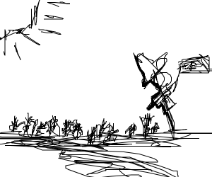 scarecrow playing a trumpet in a wheat feild