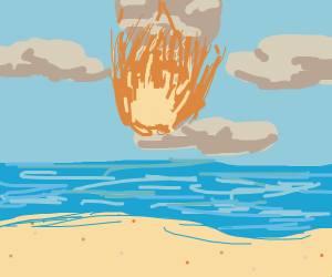 meteor landing on beach