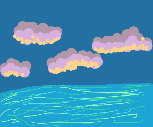 Clouds over water