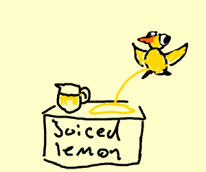 The duck pees on the lemonade stand