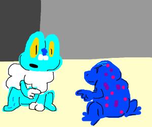 Froakie sees a blue poison dart frog