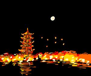 Japanese tower at night