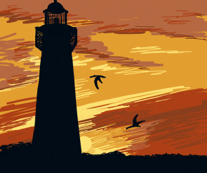 Lighthouse, the sun setting, the water lappin