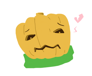 a heartbroken pumpkin