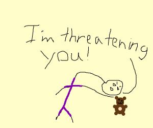 man in purple threatens girl's teddy bear
