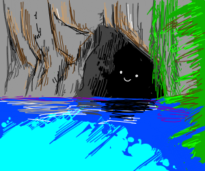 a tropical cave entrance with a face