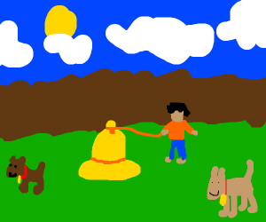 Guy walks his bell at a dog park