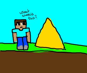 Minecraft Steve encounters a triangle