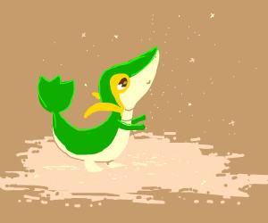 Snivy in a sandpit