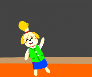 Isabelle waving as she leaves for smash