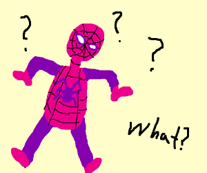 spiderman has a pink suit and questions why
