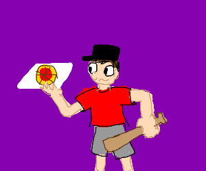 Scout delivering pizza