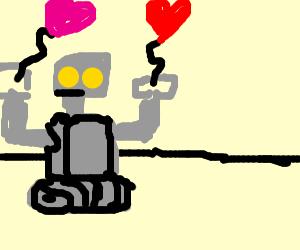 robot holding heart balloons