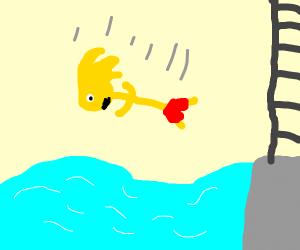 Human Super Saiyan Sonic Belly Flopping