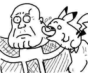 Pikachu licks thanos