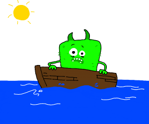 green monster on a boat