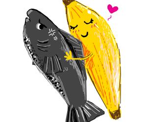 Fish does not enjoy banana hug