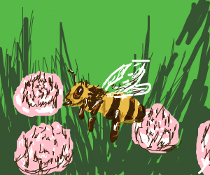 Bee surrounded by pink flowers