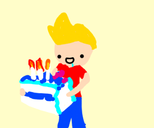 A nice blue birthday cake for Jazza(Youtuber)
