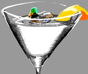 Duck swimming in water in a martini glass