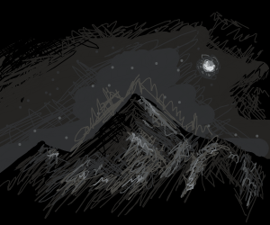 It's night time in the mountains