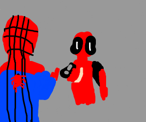 Spiderman and deadpool pointing at eachother