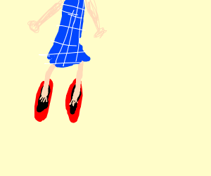 dorothy in a giant ruby shoe