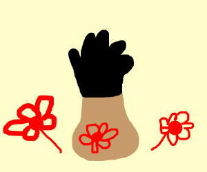 Vase wearing Gloves