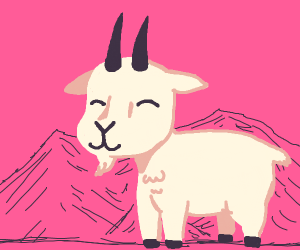 Cute Billy Goat in Mountain