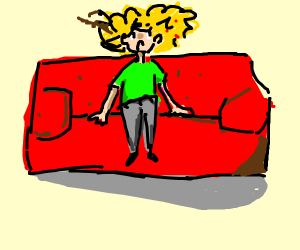 Person with REALLY messy hair sitting on sofa