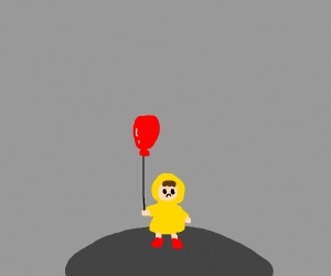 Sad boy with a red balloon is all alone