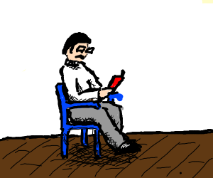 man sitting in a blue chair