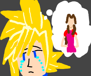 Cloud Strife thinking about Aerith
