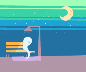 Sad ghost on a bench