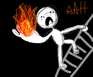 Mans with hand on fire standing on a ladder
