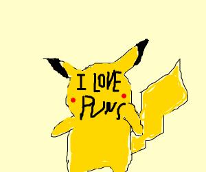 "Pikachu's face says ' I LOVE ""PUNS"" '"