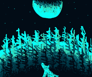 Wolf on hill above forest howling at moon