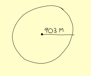 A radius of 903 metres
