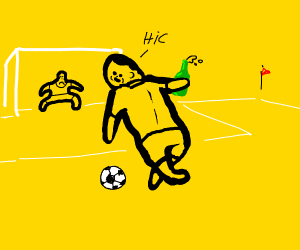 drunk man plays soccer