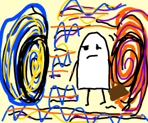 sad ghost traveling through dimensions
