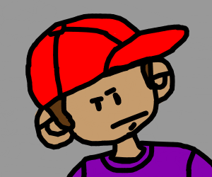 a man with a red hat