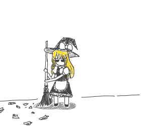 Blonde girl sweeping