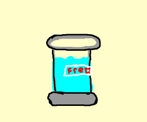 glass of water and nametag