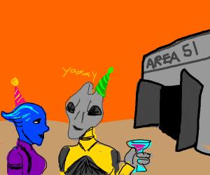 Aliens celebrate release from Area 51